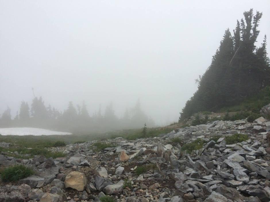 Hiking the heavens inside of a cloud.